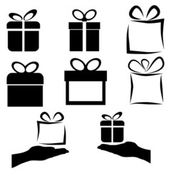 black gift icon set on white background, vector