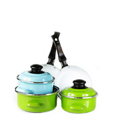 set of metal pots and pan cookware