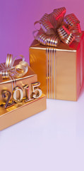 Christmas gifts and decorative figures in gold color