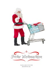 Positive santa delivering gifts with a trolley