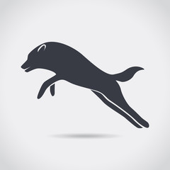 Wolf jumping, silhouette, symbol, vector