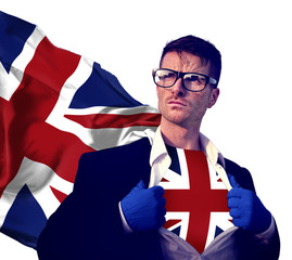 Superhero Businessman UK Isolated Concept