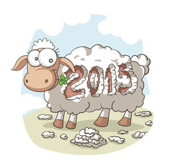 2015 Year Of the Sheep Vector Cartoon