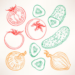 sketch vegetables