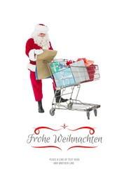 Composite image of santa delivering gifts with a trolley