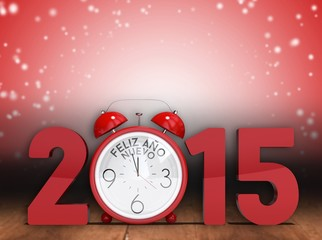 Composite image of 2015 with alarm clock