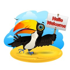 Toucan with a sign