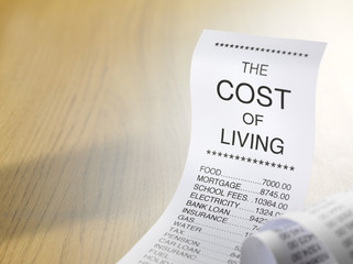 Cost of living shopping list showing home finances