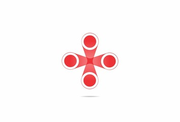 four circle red dot cross abstract vector logo