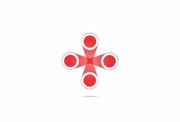 four circle red dot cross abstract vector logo