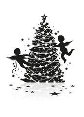 Engel schmücken Weihnachtsbaum