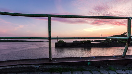 Hamburg Elbe river with ships, evening dolly shot timelapse