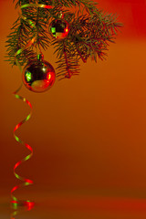 Christmas decorations to spruce branches