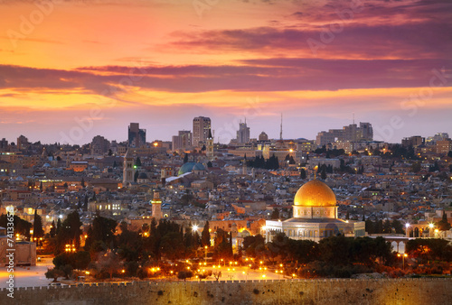 Canvas Bedehuis View of Jerusalem old city. Israel