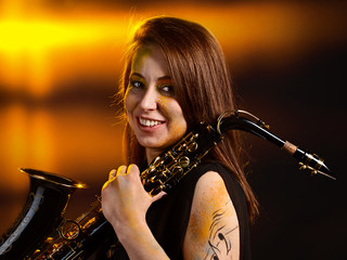 woman with saxophone