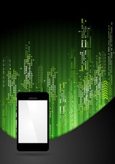 Green tech abstract background with smartphone