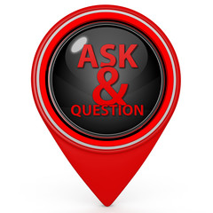 Q&A  pointer icon on white background