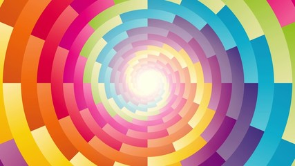 colorful circular spiral rotating background endless loop