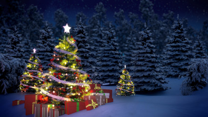 Christmas trees and gift boxes in snow covered pine woods