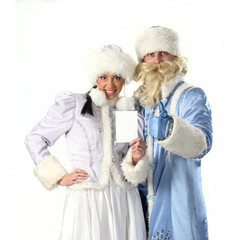 Santa  with Santa girl show a white sheet