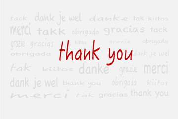 tag cloud thank you in grau