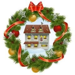 Vector Christmas Wreath with House