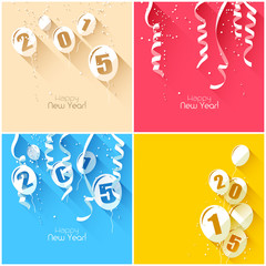 Happy New Year 2015 - modern greeting card in flat design styles