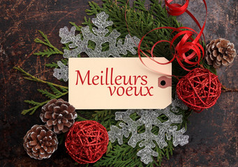 Christmas concept. Season's Greetings in French.