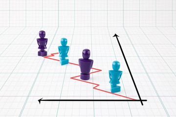 Faceless male and female figurines situated on line graph