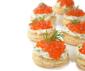 Appetizer with red caviar