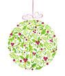 Zdjęcia na płótnie, fototapety, obrazy : Holly Christmas watercolor bauble greeting card