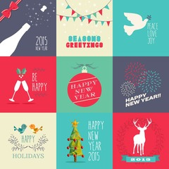 New year 2015 flat design set