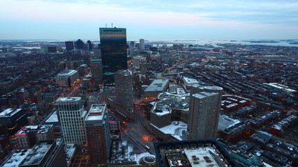 A timelapse view of Boston at dusk