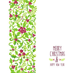Merry Christmas watercolor holly berry pattern