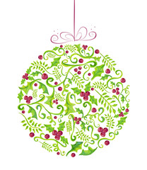 Holly Christmas watercolor bauble greeting card