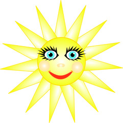 Cheerful smiling bright sun with blue eyes