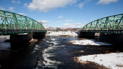 A timelapse view of twin bridges in winter