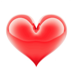 red glossy shiny heart shape isolated on white background