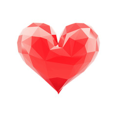 Lowpoly 3d glossy heart shape, isolated