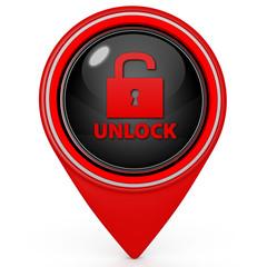 Unclock pointer icon on white background