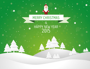Christmas landscape background with snow and tree, wish card