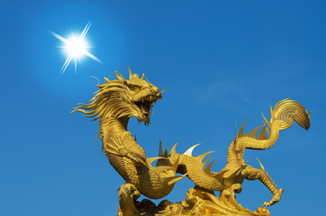 Giant golden Chinese dragon