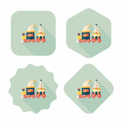 Christmas train toy flat icon with long shadow,eps10