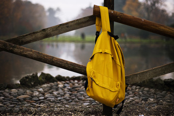 Backpack isolated on white background w/clipping path
