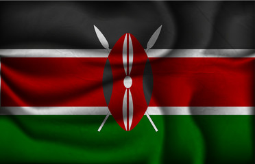 crumpled flag of Kenya on a light background