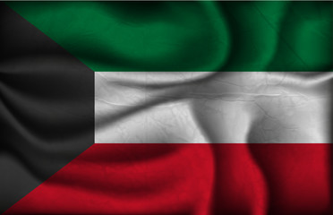 crumpled flag of Kuwait on a light background