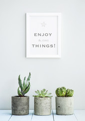 MOTIVATIONAL POSTER  ENJOY THE LITTLE THINGS WITH SUCCULENTS