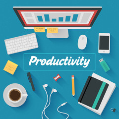 Trendy Flat Design Illustration: Productive office workplace