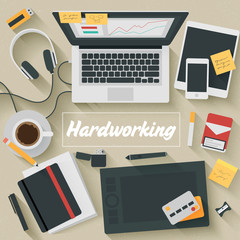 Trendy Flat Design Illustration: Hardworking