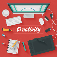 Trendy Flat Design Illustration: Creative office workplace